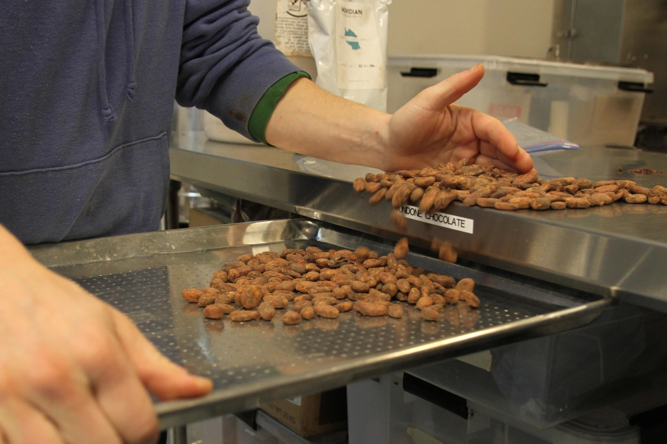 The cacao beans are loaded onto a baking tray in a single layer so Adam can do a long, slow roast to develop the flavor, but still keep the antioxidants intact. (Image: Amanda Andrade-Rhoades/ DC Refined)