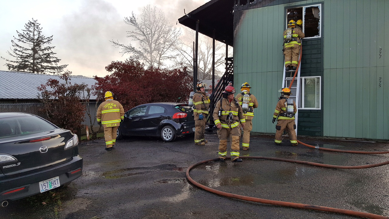 On Saturday, April 15, officials received multiple calls of a structure fire at an apartment complex at 275 Grant Street in Sutherlin. (Photo courtesy Sutherlin Police Department)
