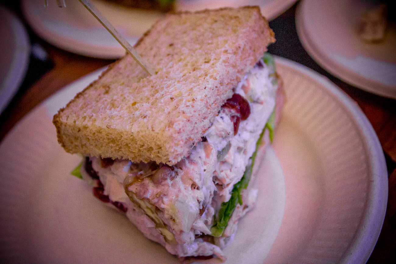 Chicken salad sandwich: cranberry walnut chicken salad on toasted wheatberry{ }/ Image: Katie Robinson, Cincinnati Refined // Published: 5.22.19