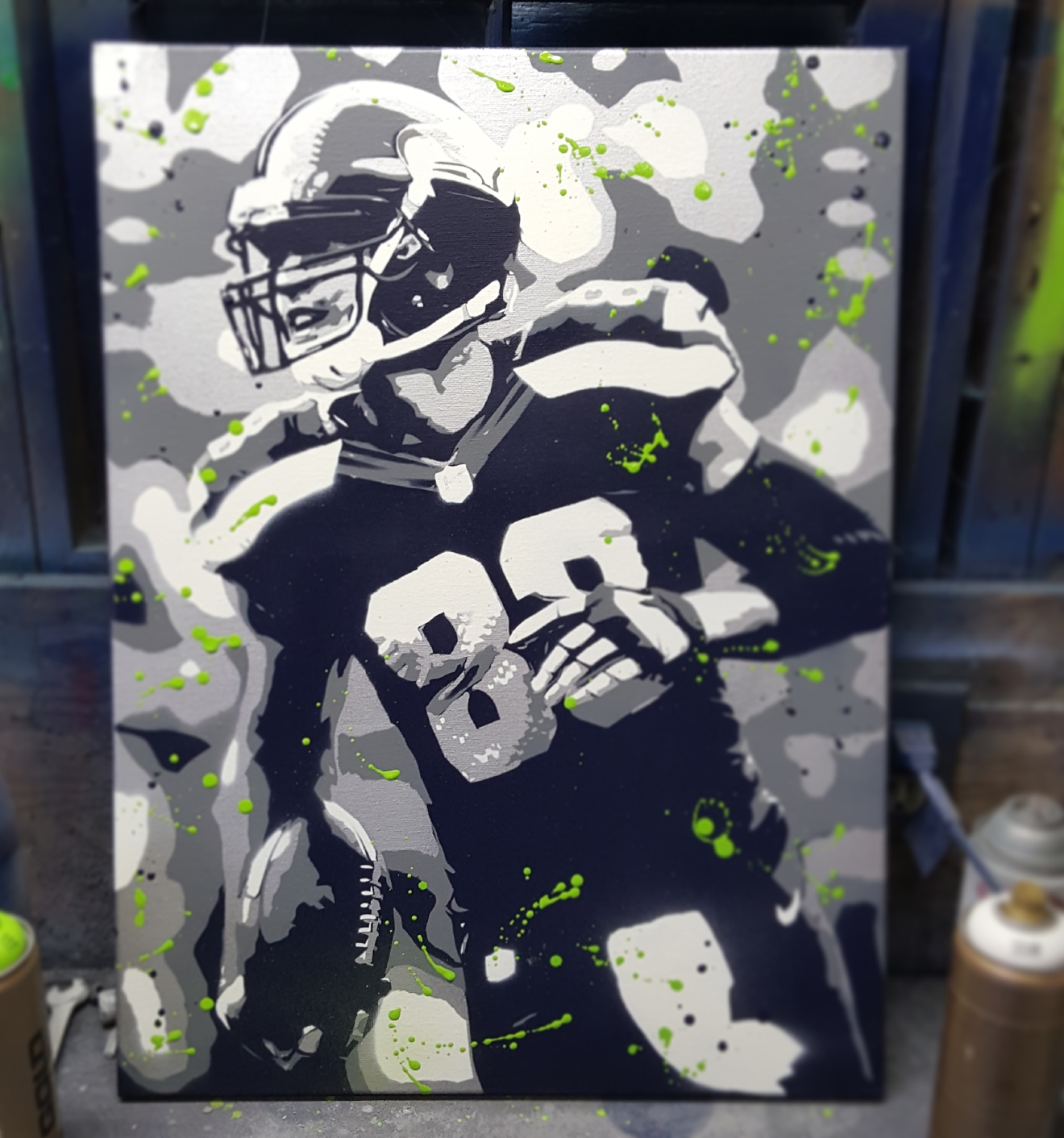 I really think the edginess of spray paint and the rawness of sports go well together. (Image: Kurt Foerster)