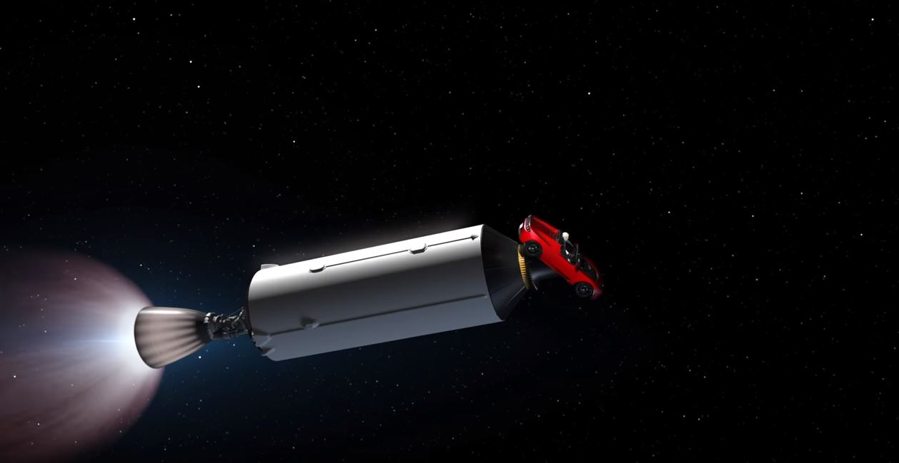 Falcon Heavy sends a car to Mars. (SpaceX)