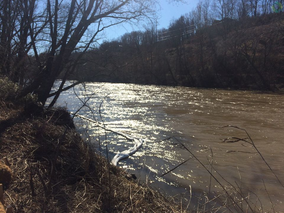 An advisory warning people and pets to avoid contact with a section of the French Broad River is likely to be extended. (Photo credit: WLOS staff)