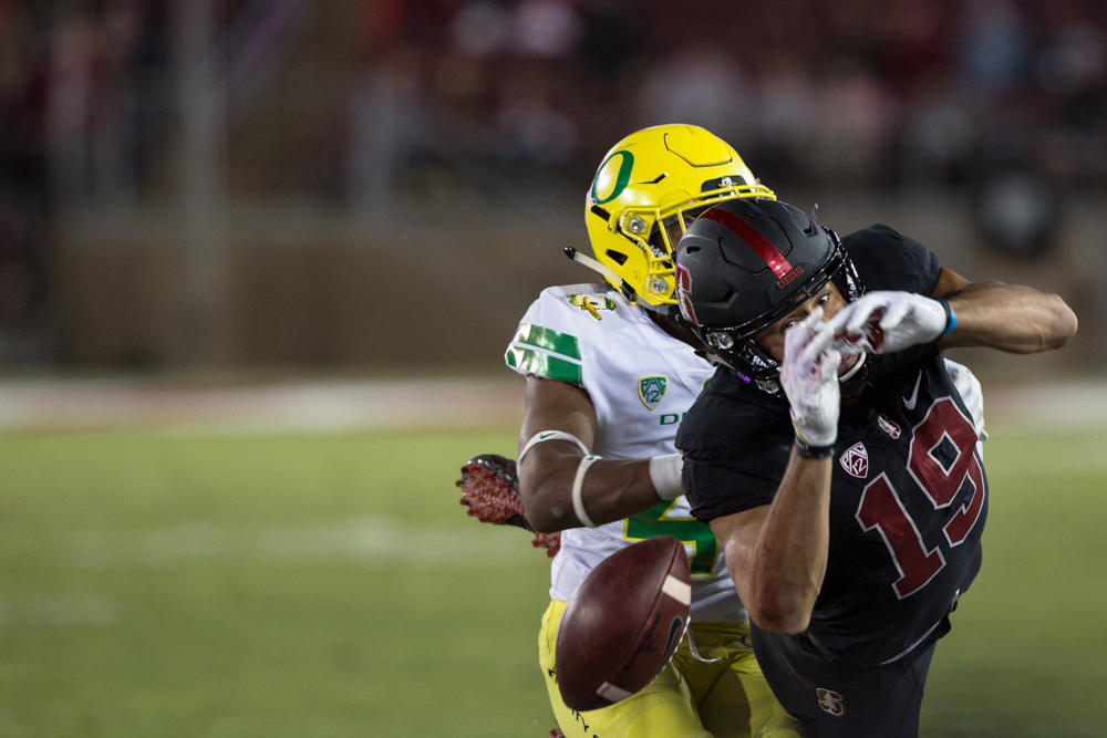 Stanford wide receiver JJ Arcega-Whiteside (#19) dives for a pass.  The Oregon Ducks fell to the Stanford Cardinal 49-7 at Stanford Stadium, bringing their record to 4-3 for the season.  Photo by Austin Hicks, Oregon News Lab