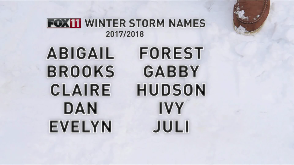 fox 11 reveals 2017 18 winter storm names wluk. Black Bedroom Furniture Sets. Home Design Ideas