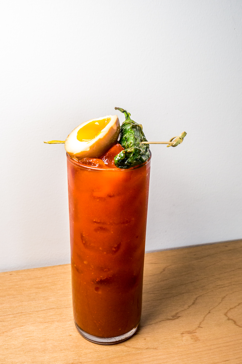 Kimchi Bloody Mary with shishito pepper and tea-marinated egg / Image: Catherine Viox{ }// Published: 10.21.19