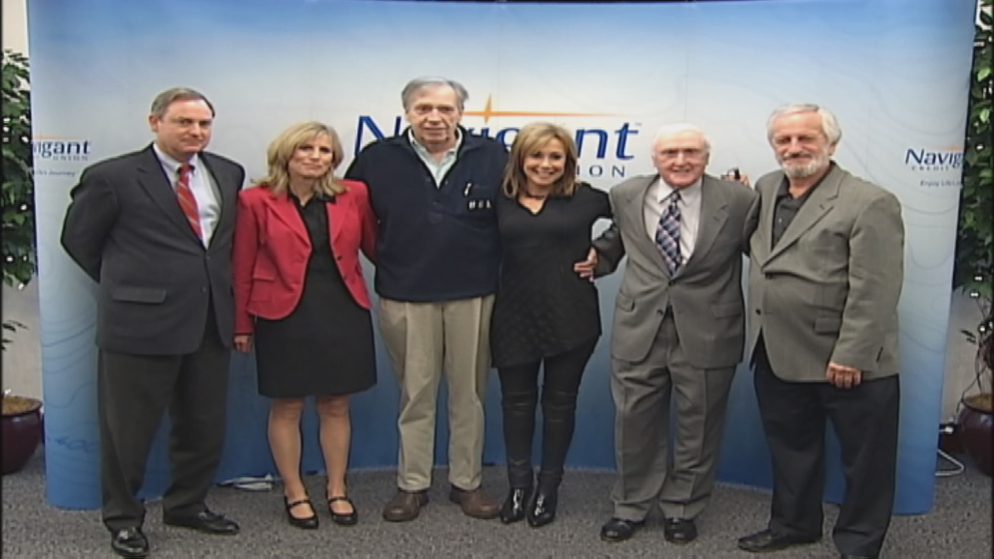 Jimmy Gray, third from left, at his 2009 induction into the Rhode Island Radio Hall of Fame.{&amp;nbsp;} (WJAR Archive)<p></p>