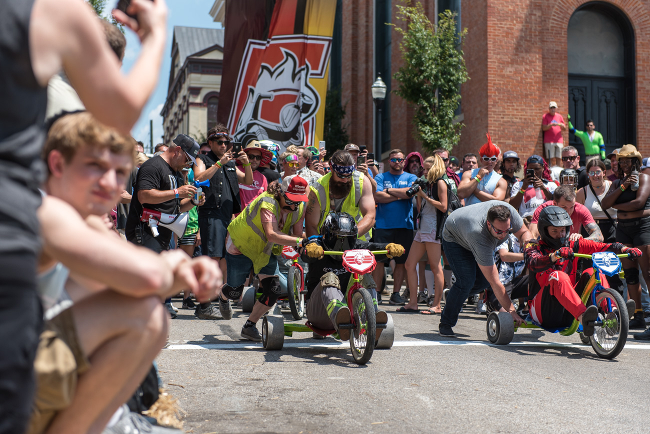 Pendleton's craziest annual race returned for another year: Danger Wheel 2019 took place on Saturday, July 27. The adult downhill big wheel racing event featured teams that competed throughout the day to see who could cross the finish line first. The event is held every year to benefit beautification projects in Pendleton. Costumes weren't required, but they were encouraged. / Image: Mike Menke // Published: 7.28.19