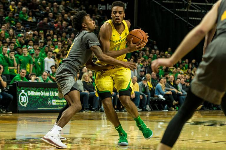 Oregon's Troy Brown Jr. drives to the basket in their matchup with ASU, Thursday at Matthew Knight Arena. Oregon defeated ASU 75-68 to improve their season record to 18-10 (8-7 PAC-12). The Ducks face off against fourteenth ranked Arizona for their final home game of the season at Matthew Knight Arena on Saturday. (Photo by Colin Houck)