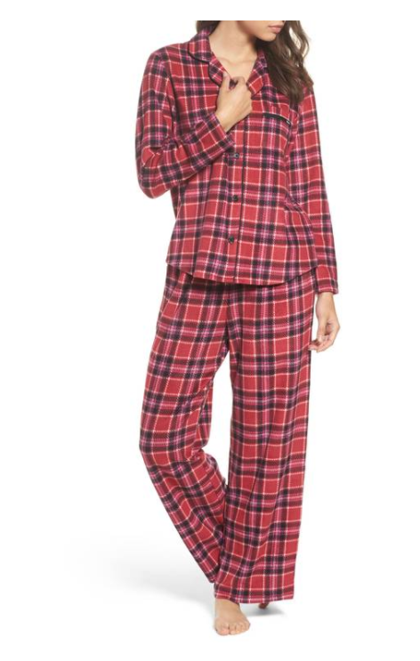 Stretch Fleece Long Pajamas, DKNY, $58 (Image courtesy of Nordstrom).<p></p>