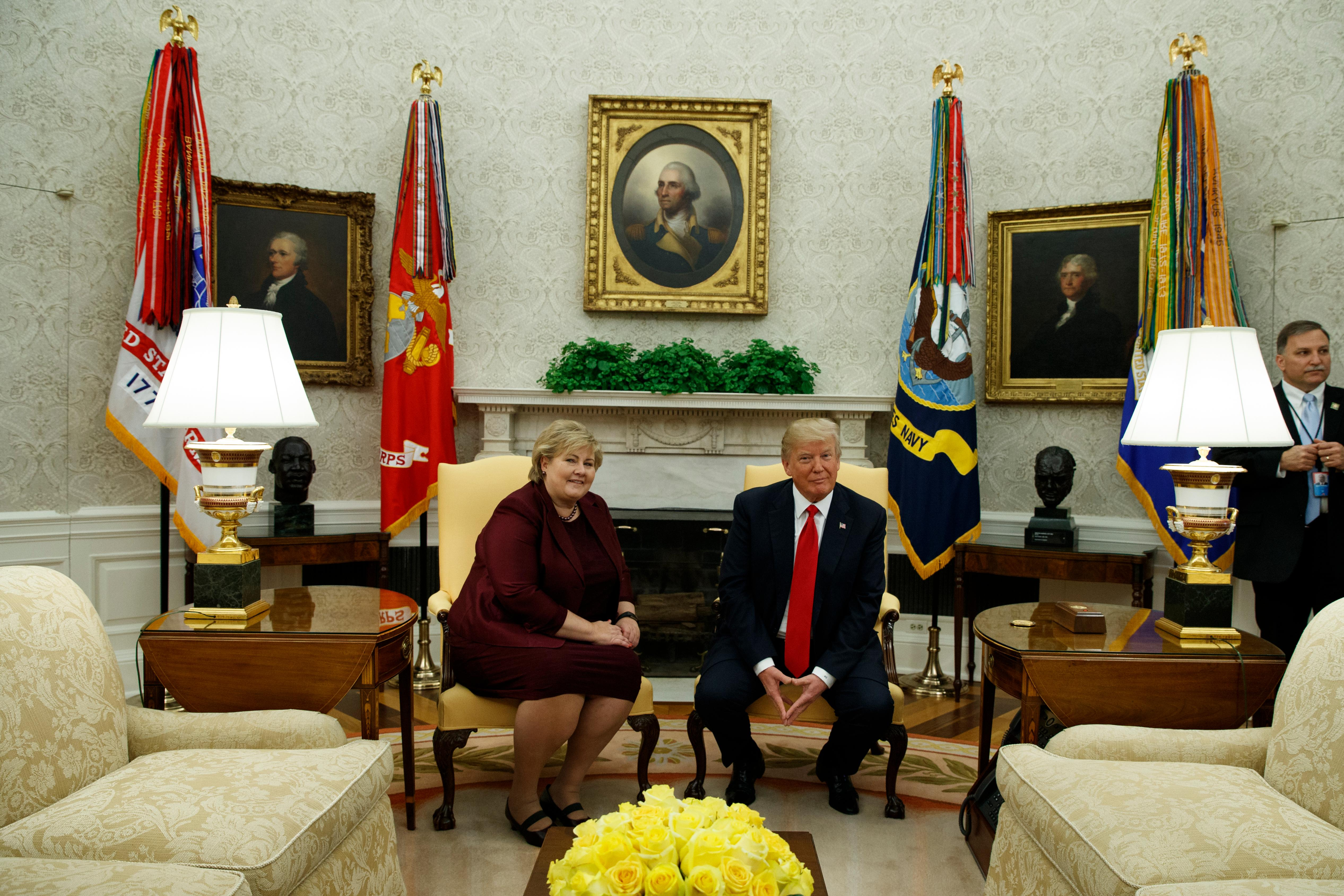 President Donald Trump meets with Norwegian Prime Minister Erna Solberg in the Oval Office of the White House, Wednesday, Jan. 10, 2018, in Washington. (AP Photo/Evan Vucci)