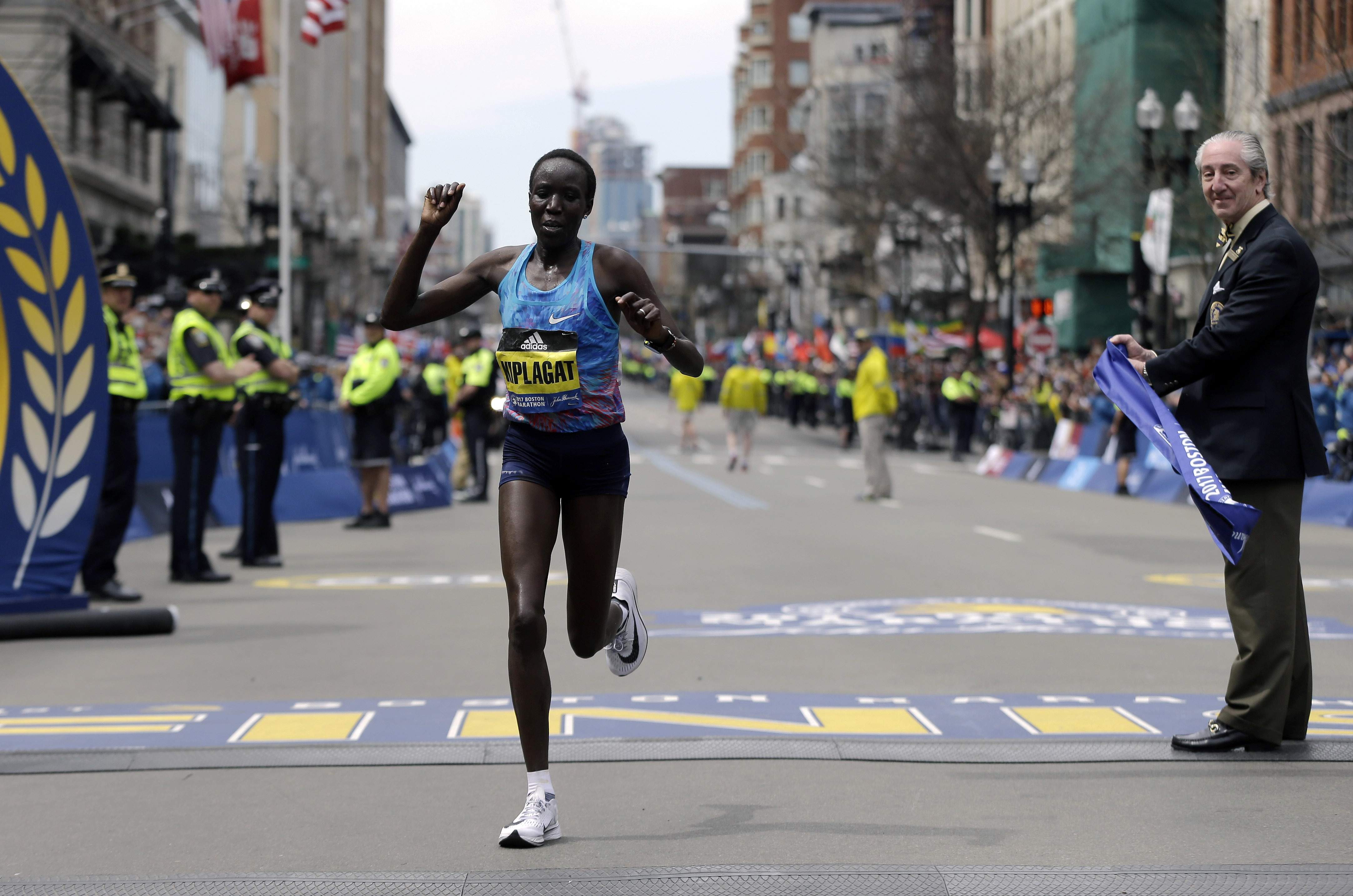 Edna Kiplagat, of Kenya, wins the women's division of the 121st Boston Marathon on Monday, April 17, 2017, in Boston. THE ASSOCIATED PRESS