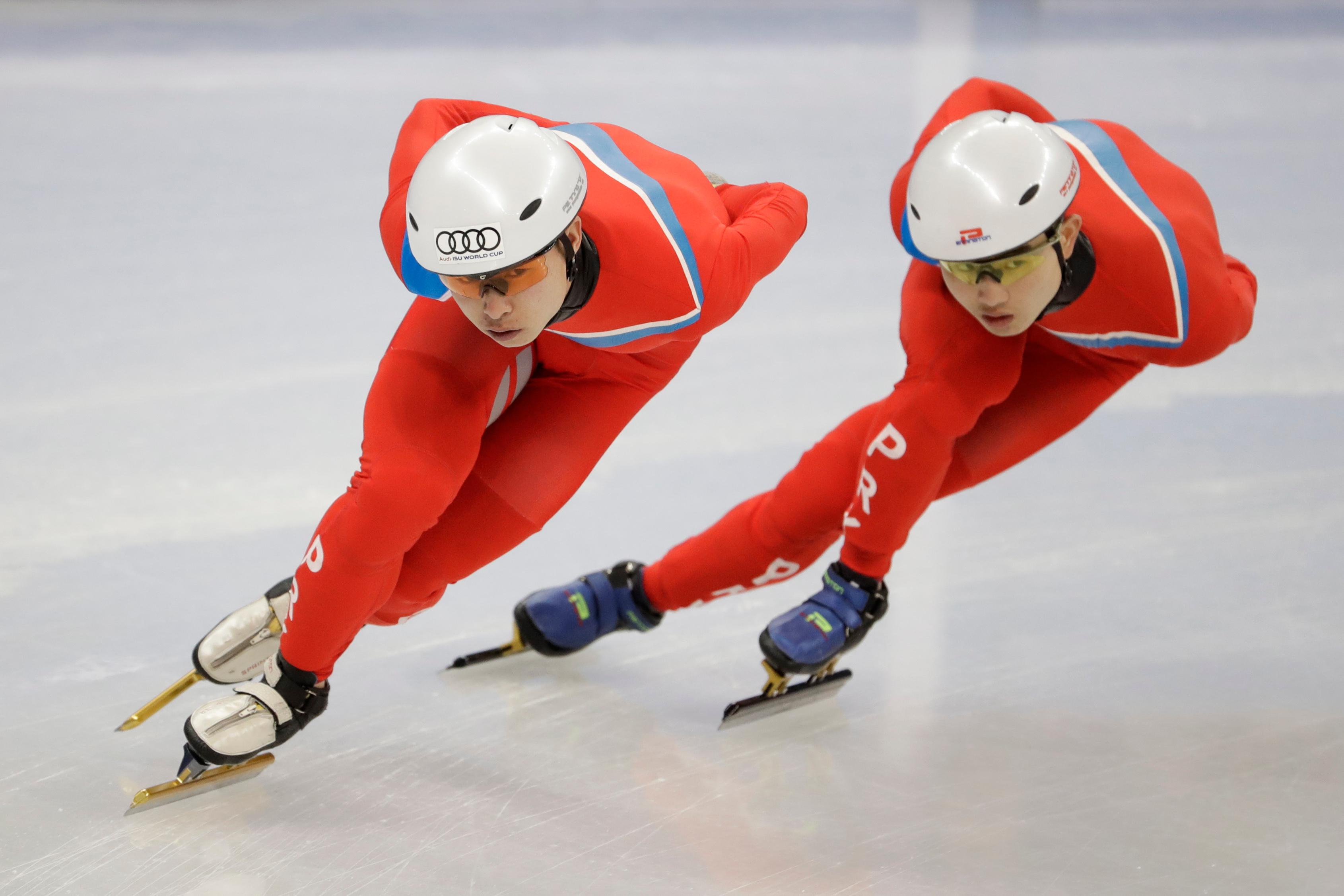 CORRECT TO NORTH KOREA, NOT SOUTH KOREA - North Korea's Choe Un Song, left and Jong Kwang Bom during a Men's Short Track Speed Skating training session ahead of the 2018 Winter Olympics in Gangneung, South Korea, Friday, Feb. 2, 2018. (AP Photo/Felipe Dana)