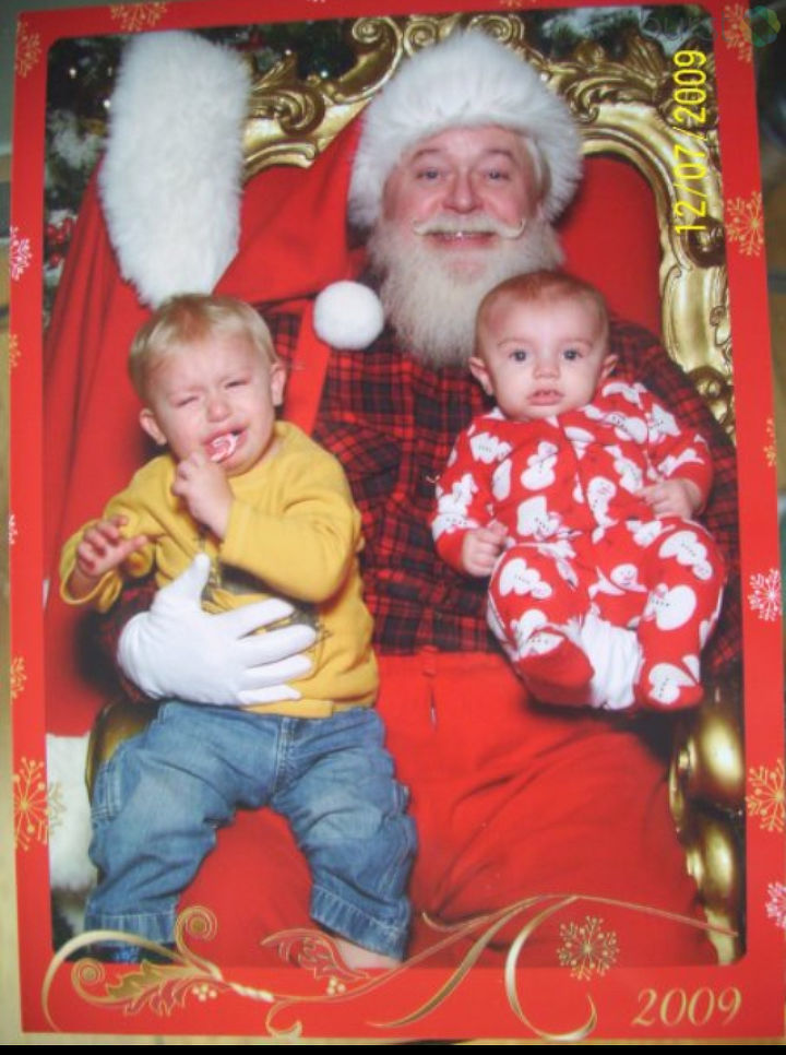 "2009 Christmas: ""Santa didn't impress him much,"" says Katie Pretzer."