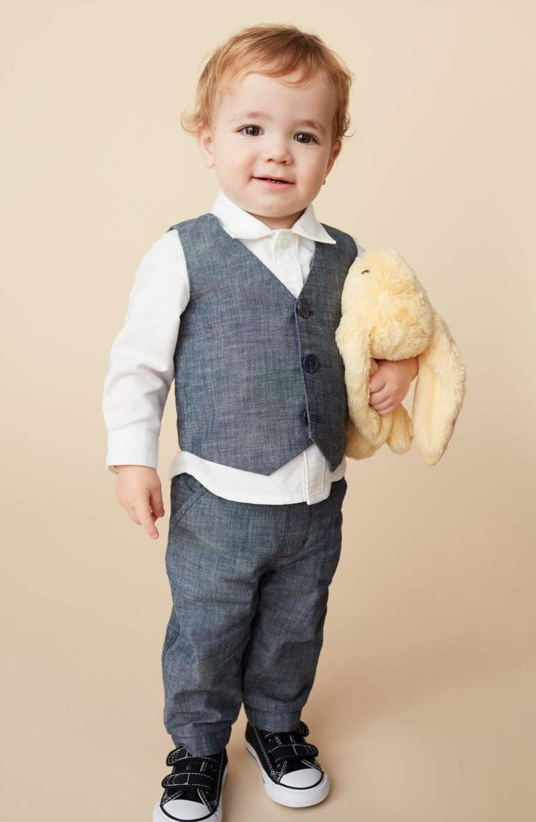 OMGEEEEEE!{ } Outfit your little man in this dapper ensemble featuring a woven-cotton shirt styled with a handsome chambray vest and matching pants.Price: $69 at Nordstrom. (Image: Nordstrom)