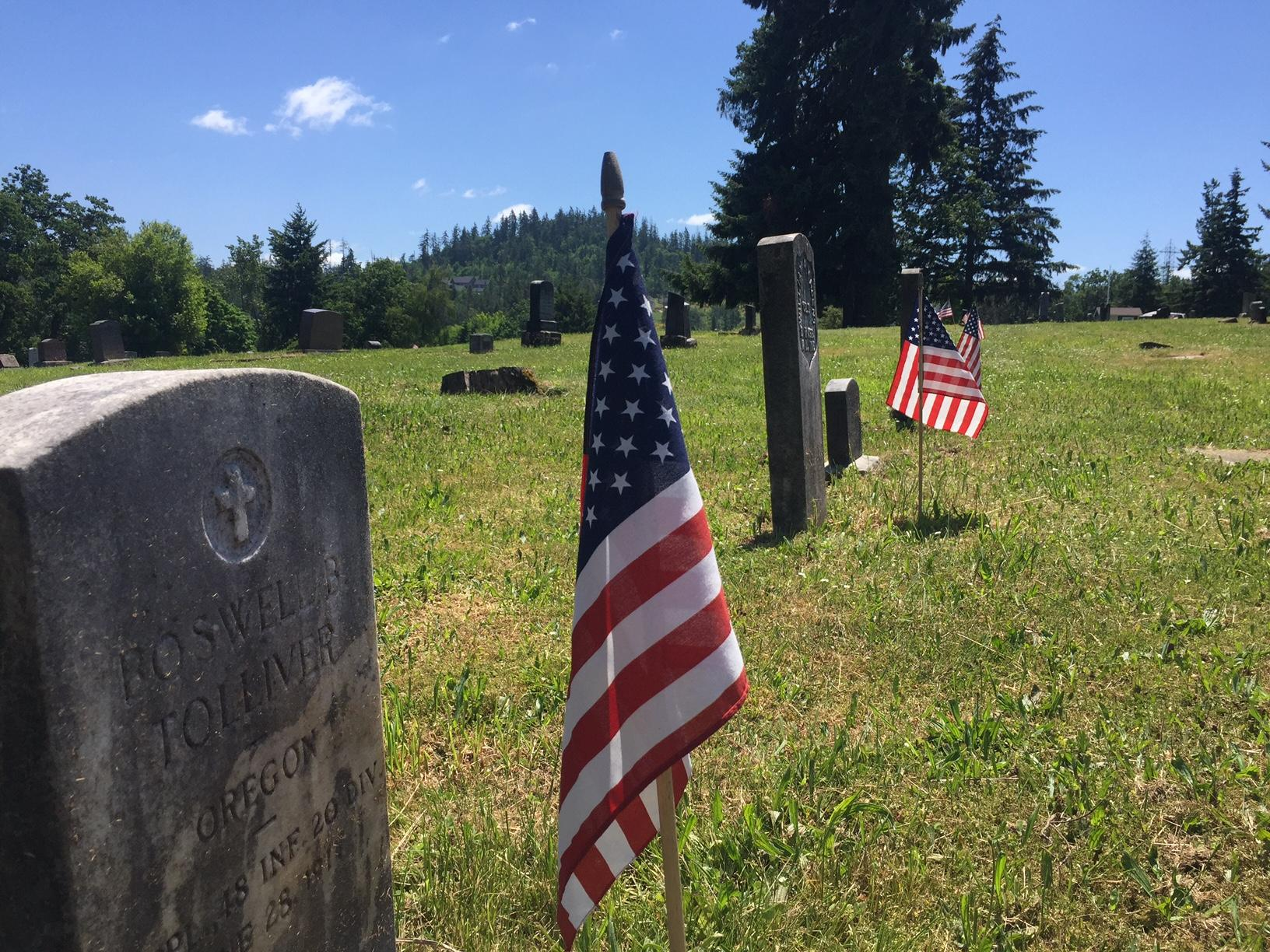 Flags have been placed at the gravesites of veterans at Laurel Grove Cemetery in Lane County for Memorial Day. | SHARE YOUR MEMORIAL DAY VIDEOS & PHOTOS at BURST.com/KVAL (SBG photo)