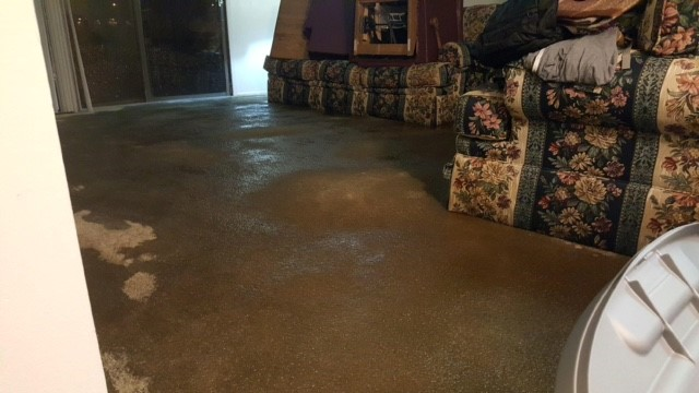 Inside the Arbor Apartments during the heavy rain flooding on Tuesday.