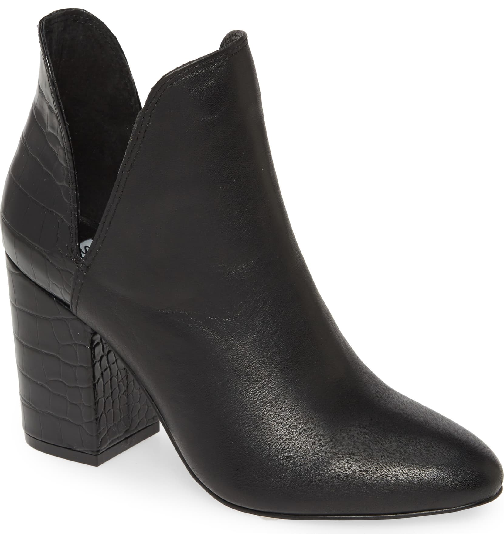 "<p>A dramatic, ankle-framing cut and a simple and sturdy heel create a striking silhouette for this leather bootie with classic-to-street-style versatility.{&nbsp;}<a  href=""https://shop.nordstrom.com/s/steve-madden-rookie-bootie-women/5192518/full?origin=category-personalizedsort&breadcrumb=Home%2FWomen%2FTopshop%20%26%20Trend&color=black%20multi"" target=""_blank"" title=""https://shop.nordstrom.com/s/steve-madden-rookie-bootie-women/5192518/full?origin=category-personalizedsort&breadcrumb=Home%2FWomen%2FTopshop%20%26%20Trend&color=black%20multi"">Shop it{&nbsp;}</a>-{&nbsp;}$101.95. (Image: Nordstrom){&nbsp;}</p>"
