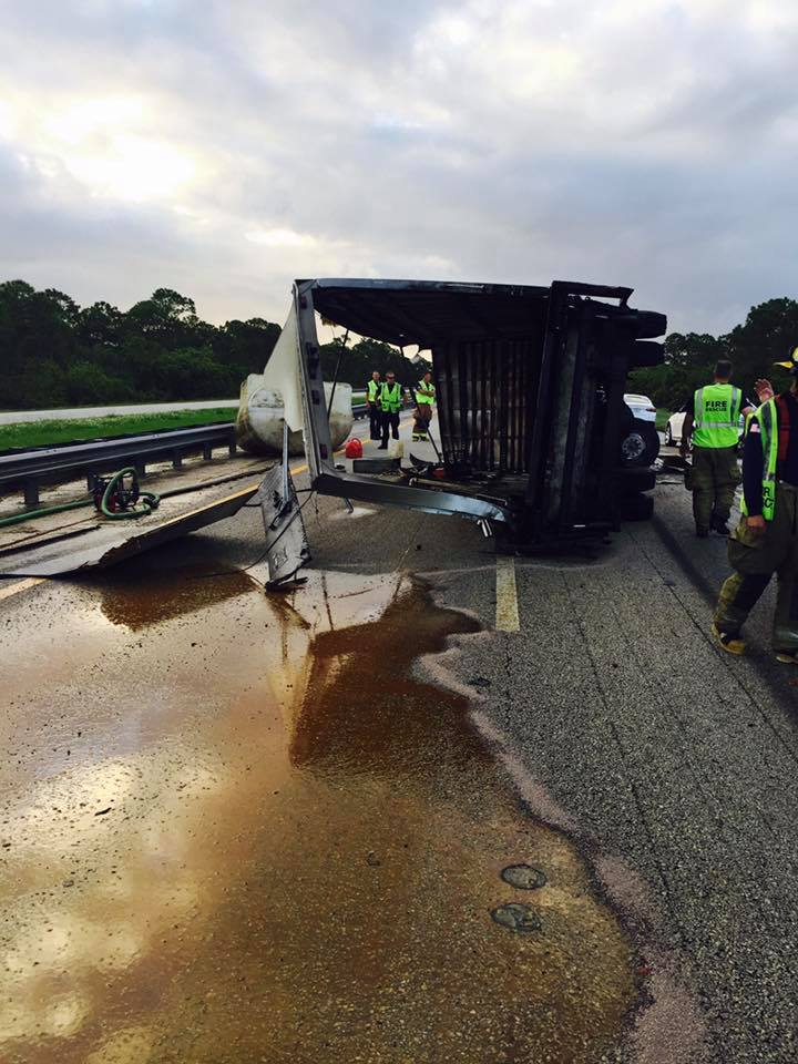Tanker truck spills 400 gallons of oil on Florida Turnpike. (SLCFD)