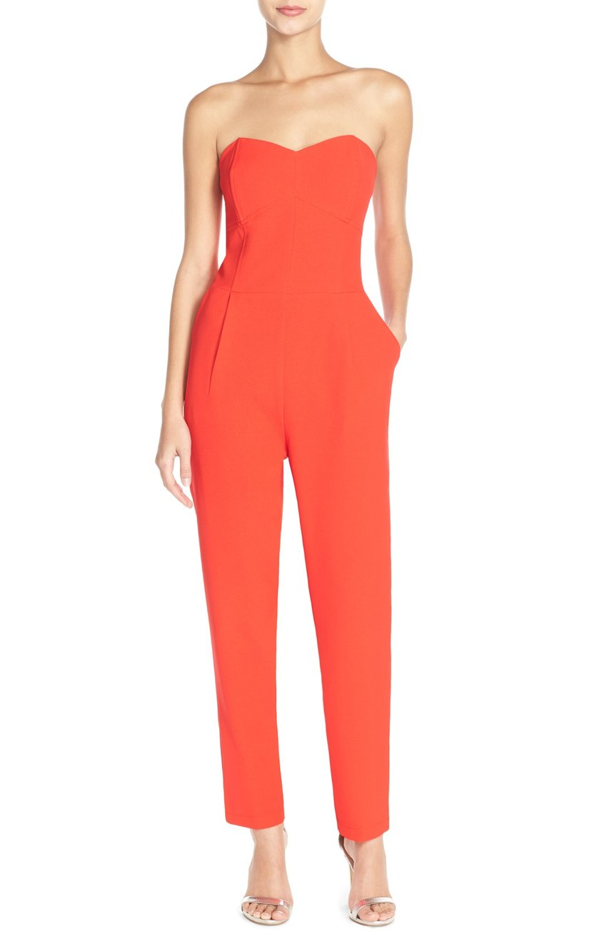 Bright colors are not just for summer and spring.  Have fun and standout in this strapless jumpsuit.  $92.00 (Image: Nordstrom)
