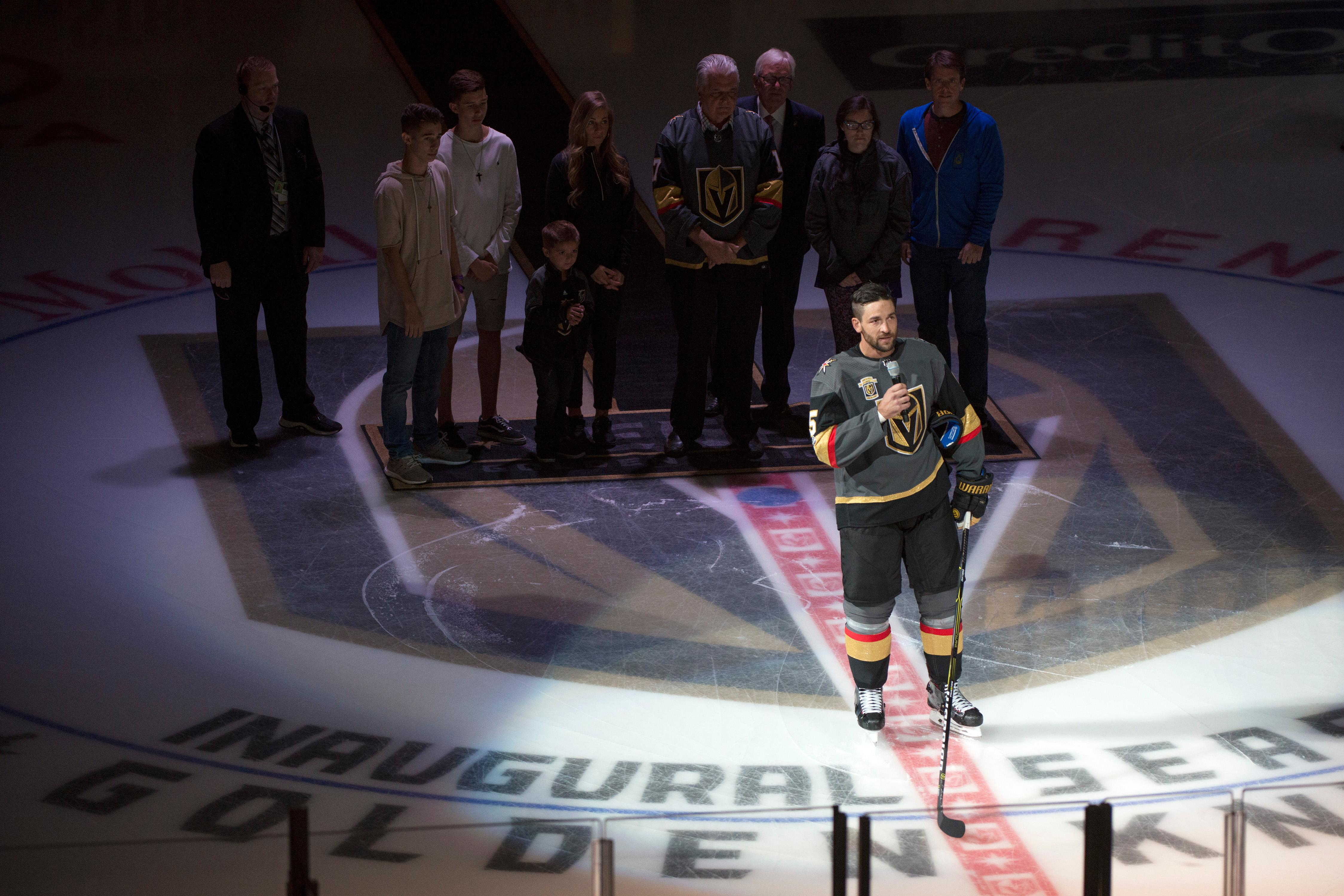 Vegas Golden Knights defenseman Deryk Engelland (5) addresses the crowd before the Knights home opener Tuesday, Oct. 10, 2017, at the T-Mobile Arena. The Knights won 5-2 to extend their winning streak to 3-0. CREDIT: Sam Morris/Las Vegas News Bureau