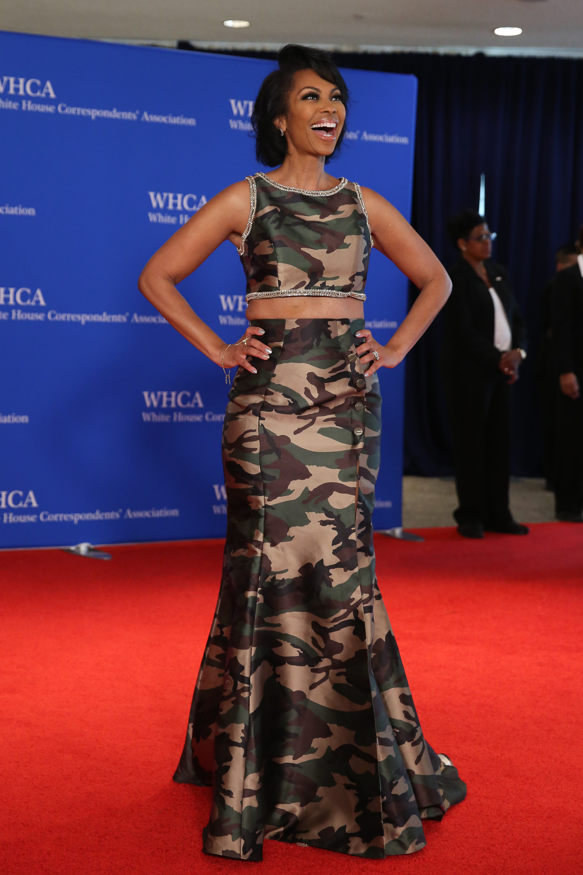 We can't believe we have to say this, but there should never be any camo on the red carpet. Ever.{ } (Image: Amanda Andrade-Rhoades/ DC Refined)