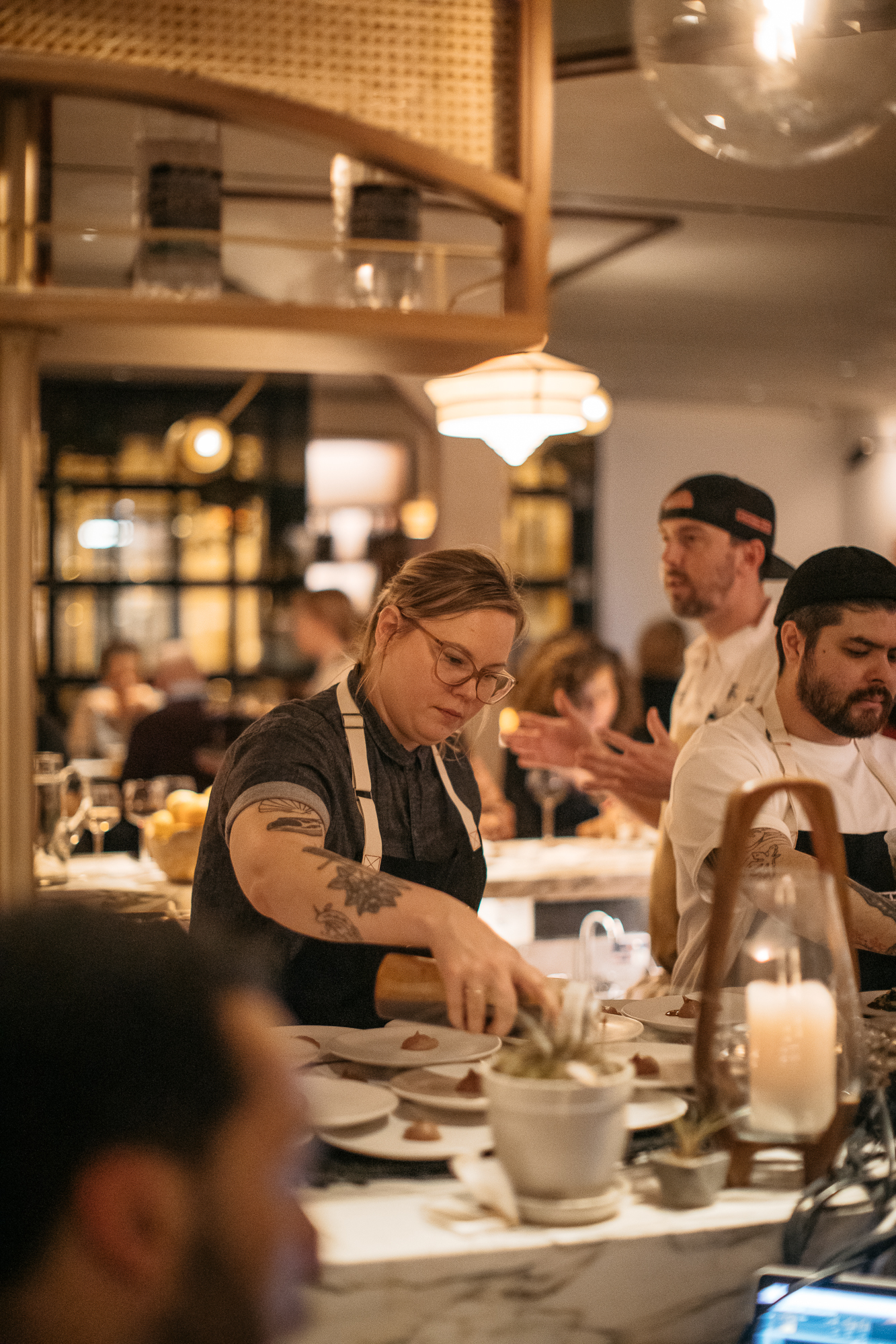 Chefs from award-winning restaurants, like Turkey & The Wolf, are cooking right alongside rising stars such as D.C.'s Autumn Cline, who it was announced at the dinner would be cooking at Kevin Tien's soon-to-open Emilie's. (Image: Betty Clicker Photography)