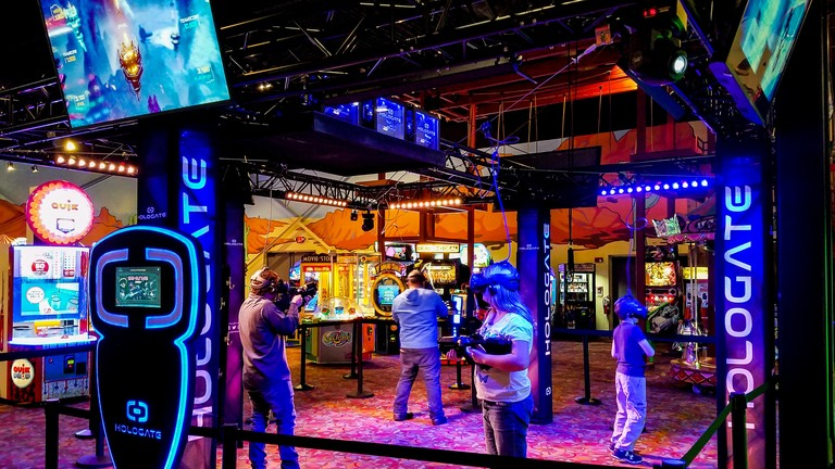 Adventure Park USA is upping its appeal with the introduction of Hologate, a four-player virtual reality attraction that immediately transports you to a new world to experience a new reality and a new dimension of thrill.(Image: Courtesy Adventure Park USA)