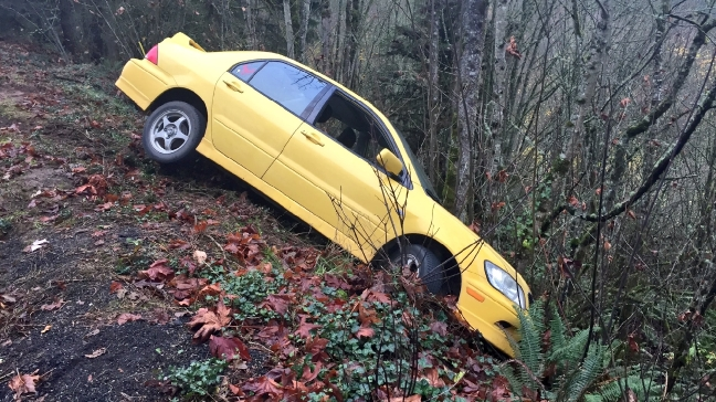Woman unhurt after nearly driving off steep cliff along Newberry Road