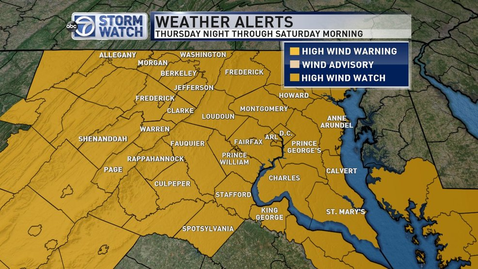 Period of dangerous high winds likely across the DC area Friday
