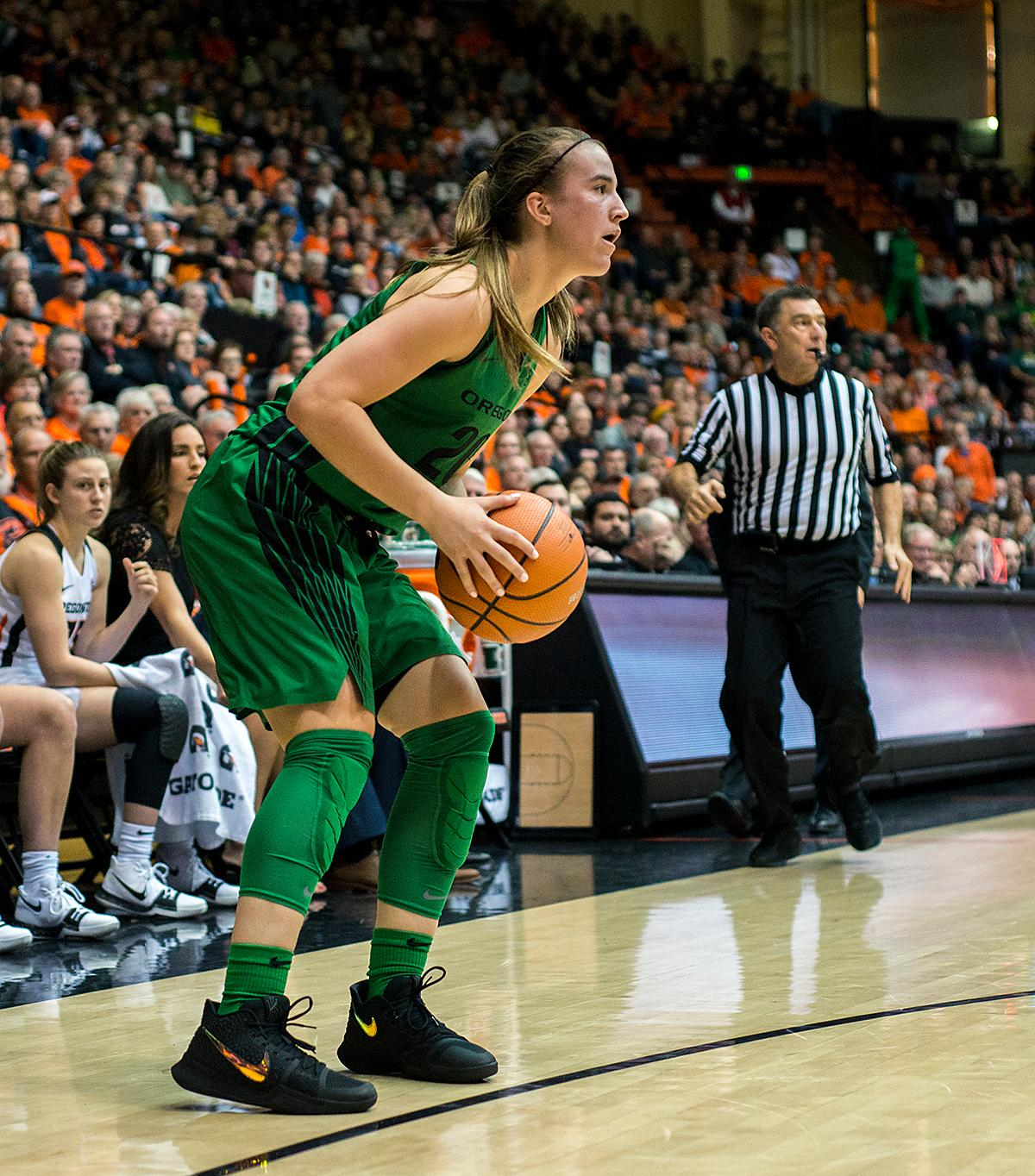 Oregon Ducks guard Sabrina Ionescu (#20) prepares to shoot after scooping a runaway ball and driving down the court.The Oregon Ducks were defeated by the Oregon State Beavers 85-79 on Friday night in Corvallis. Sabrina Ionescu scored 35 points and Ruthy Hebard added 24. The Ducks will face the Beavers this Sunday at 5 p.m. at Matthew Knight Arena. Photo by Abigail Winn, Oregon News Lab