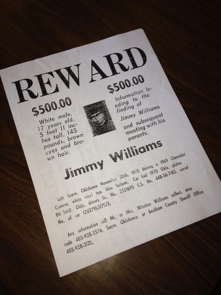 A poster asking for information on William's disappearance. The poster was made soon after Williams went missing.