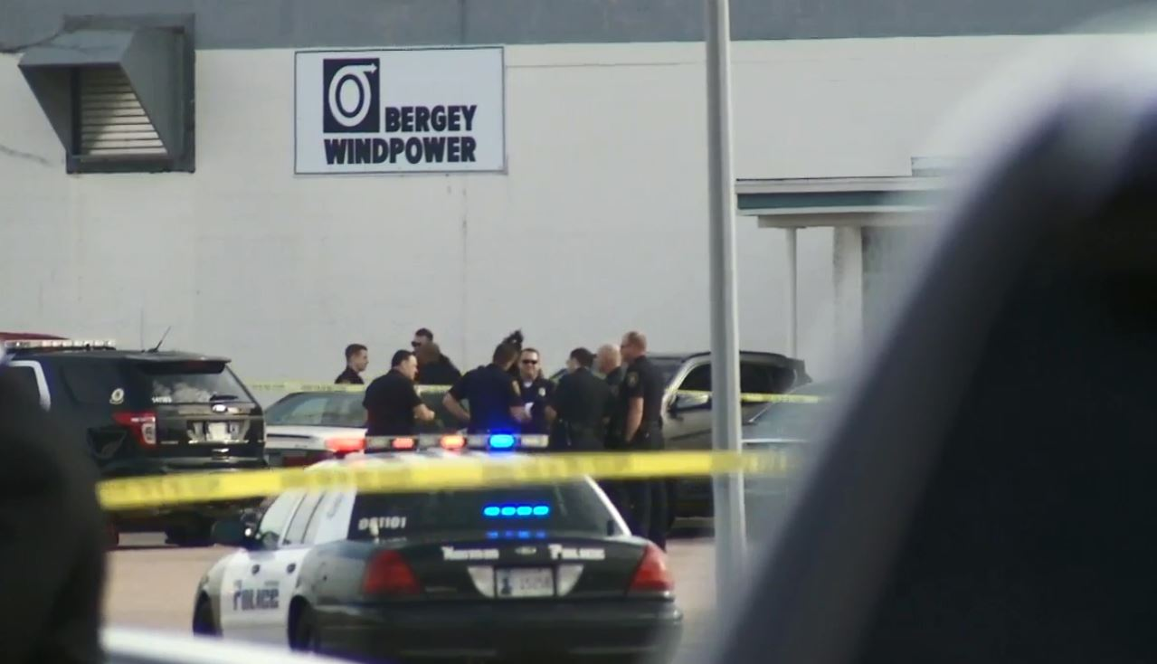 Police investigate an active shooter situation Jan. 10 at Bergey Windpower in Norman. (KOKH/Ben Latham)