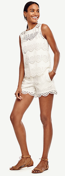 If ever there's a day to wear matchy-matchy white lace, it's Fourth of July! Scalloped eyelet shell ($89.50) and Scalloped Eyelet City Shorts ($79), anntaylor.com (Image: Courtesy Ann Taylor)