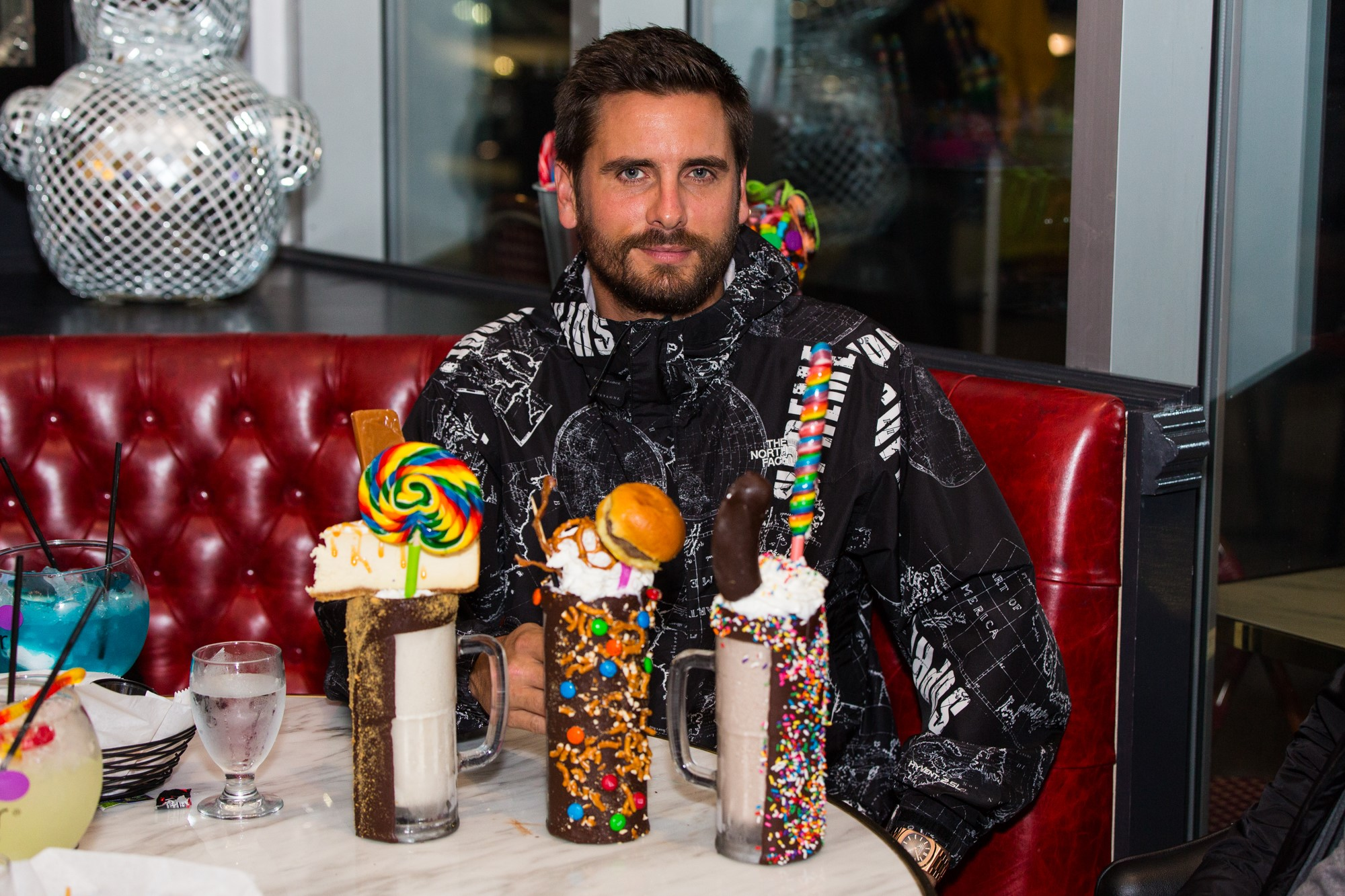 Disick, who brought along two of his children, Mason and Penelope, grabbed a corner booth and noshed on an array of savory and sweet treats, including the Garbage Salad, chicken tenders and fries, plus a trio of Insane Milkshakes — Caramel Sugar Daddy Cheesecake, Bacon Cheeseburger and Nutella Banana. (Image: John Robinson)