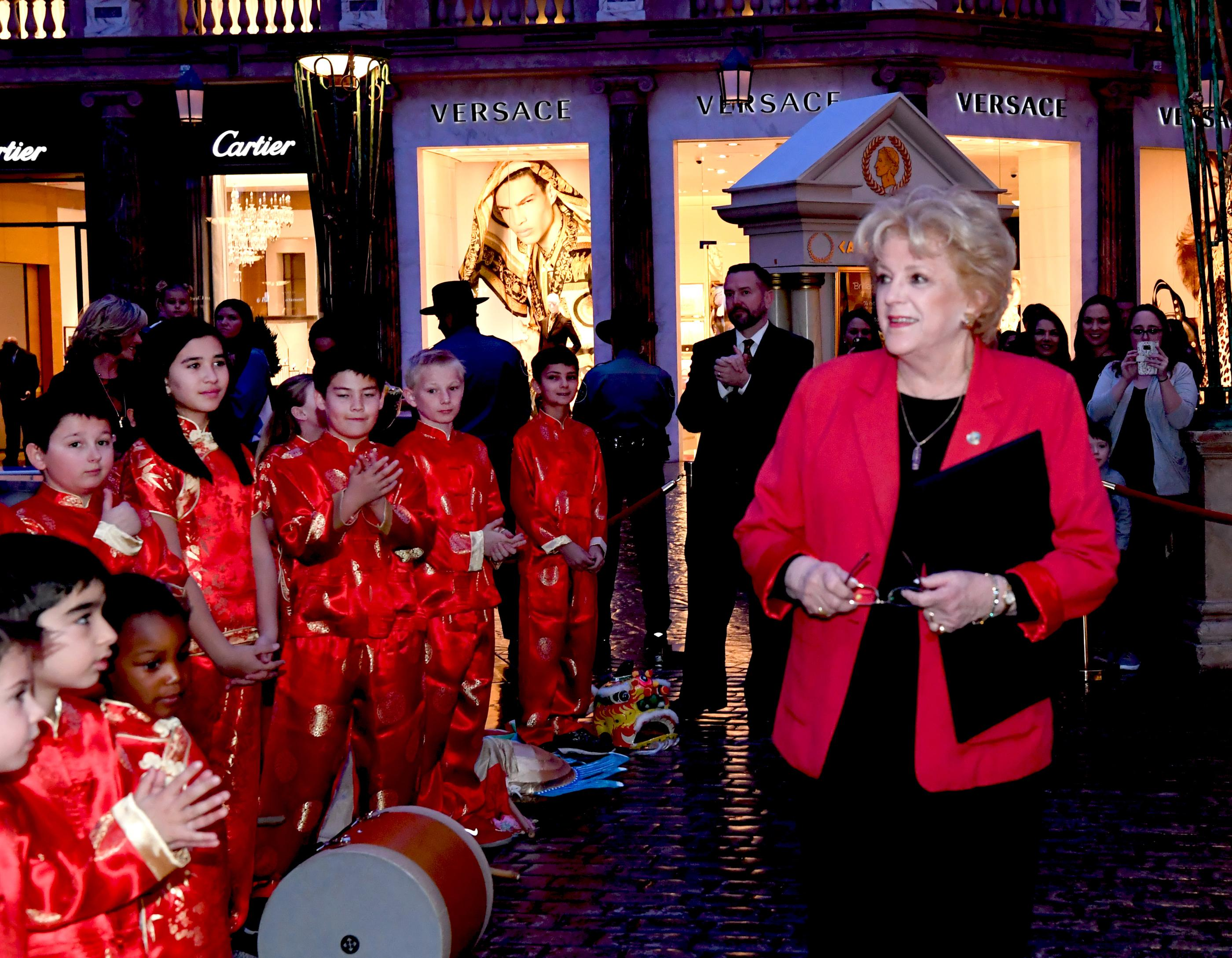Meadows School 22nd Annual Dragon Parade in honor of Chinese New Year, the Year of the Dog, at Caesars Forum Shops. In this photo Carolyn G. Goodman Mayor of Las Vegas and the founder of the Meadows School reads a proclamation making it Meadows School Day. Thursday, February 16, 2018. CREDIT: Glenn Pinkerton/Las Vegas News Bureau