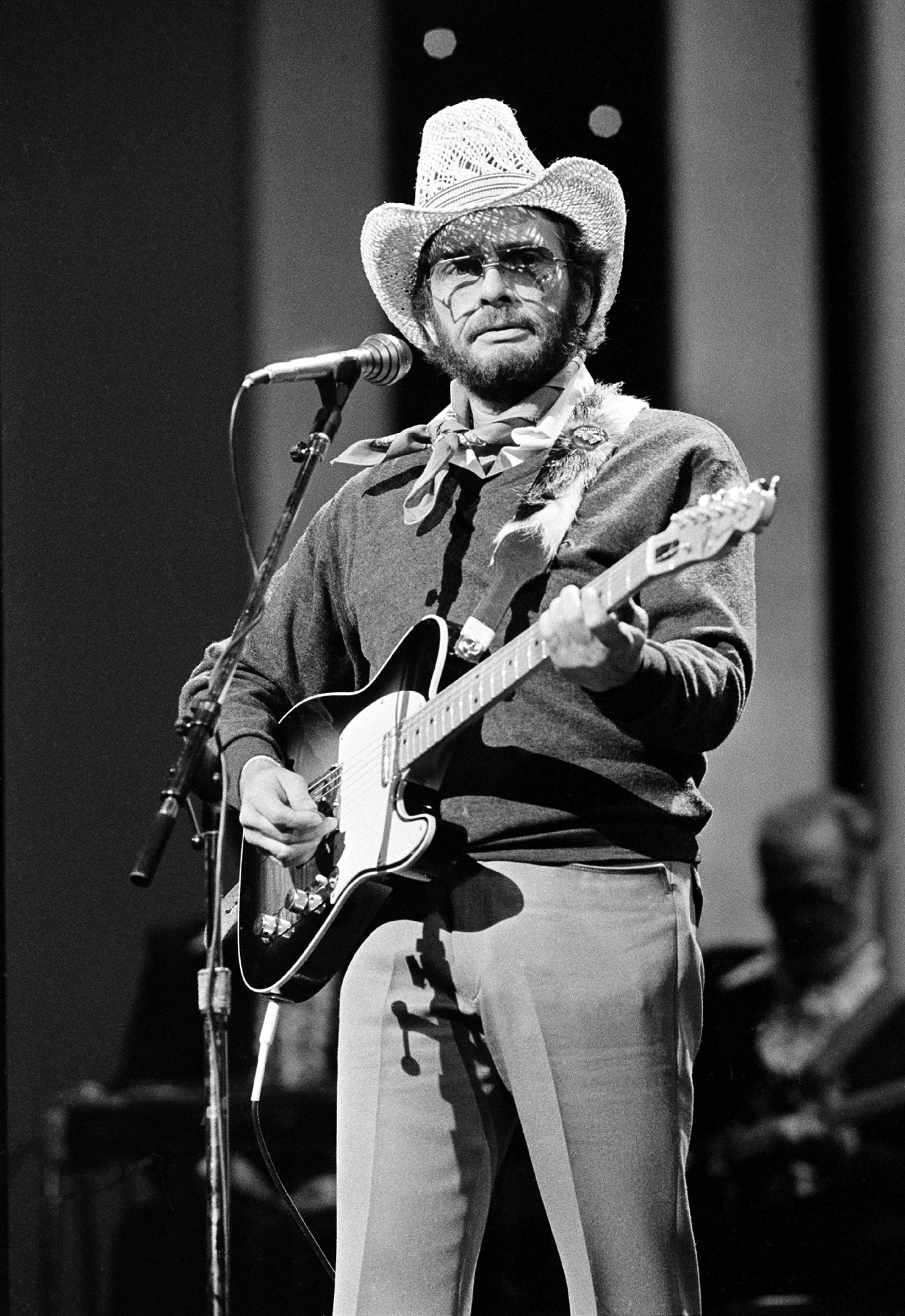 FILE - In this Oct. 10, 1983 file photo, Merle Haggard performs at the Country Music Association Awards in Nashville, Tenn. Haggard died of pneumonia, Wednesday, April 6, 2016, in Palo Cedro, Calif. He was 79.  (AP Photo/Mark Humphrey, File)