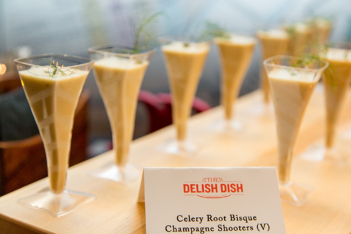 Celery root bisque champagne shooters (Image: Daniel Smyth Photography)