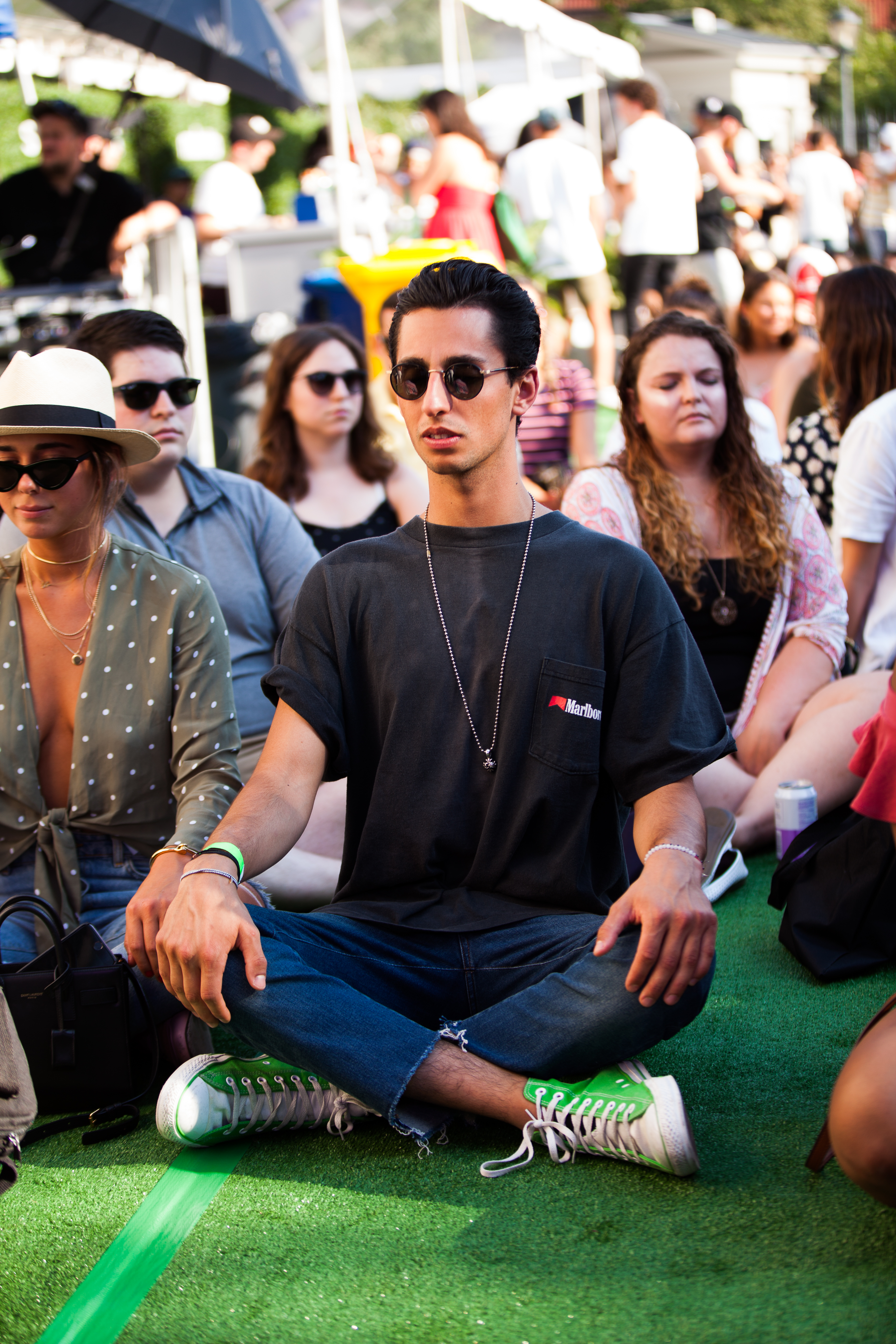 The Big Quiet is a guided mass meditation series that brings thousands of people together at iconic landmarks, like New York's Central Park and the One World Observatory. This 30-minute meditation will feature a sound bath and musicians, and was open to all block party ticket holders. (Image: Jay Snap/ LaDexon Photographie)