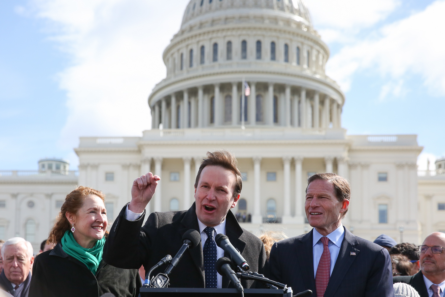 From left, Rep. Elizabeth Esty (D-Connecticut), Sen. Chris Murphy, (D-Connecticut) and Sen. Richard Blumenthal (D-Connecticut) spoke to the rally.{ } (Amanda Andrade-Rhoades/DC Refined)
