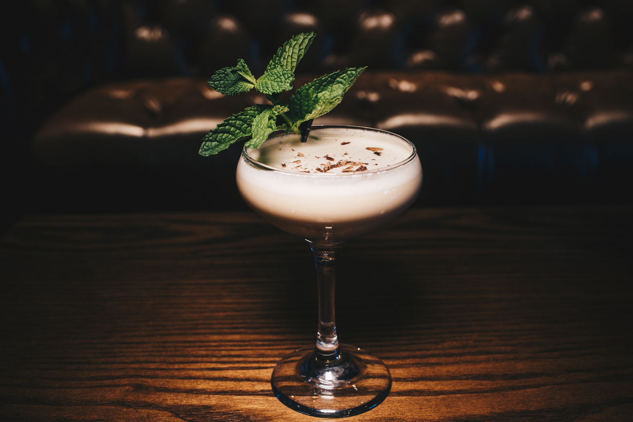 You Sexy Thing: New Riff Bourbon, heavy cream, Godiva Liqueur, creme de cacao, mint bitters, and garnished with grated chocolate and fresh mint / Image: Catherine Viox // Published: 3.25.19