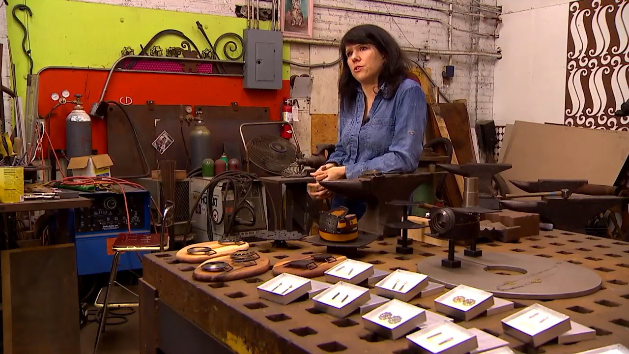 Erica Gordon works on her art at Steel Toe Studios at Seattle's Pike Place Market (KOMO Photo)<p></p>