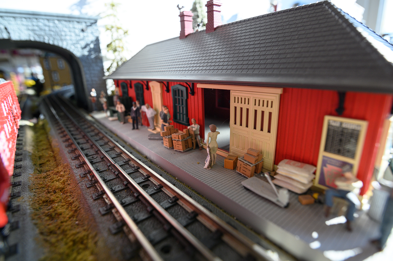 An impressive display at the front of the store features a series of looping tracks with miniature buildings, people, trees, cars, and more. Certain model trains exhale vapor to simulate smoke. / Image: Phil Armstrong, Cincinnati Refined // Published: 2.27.20