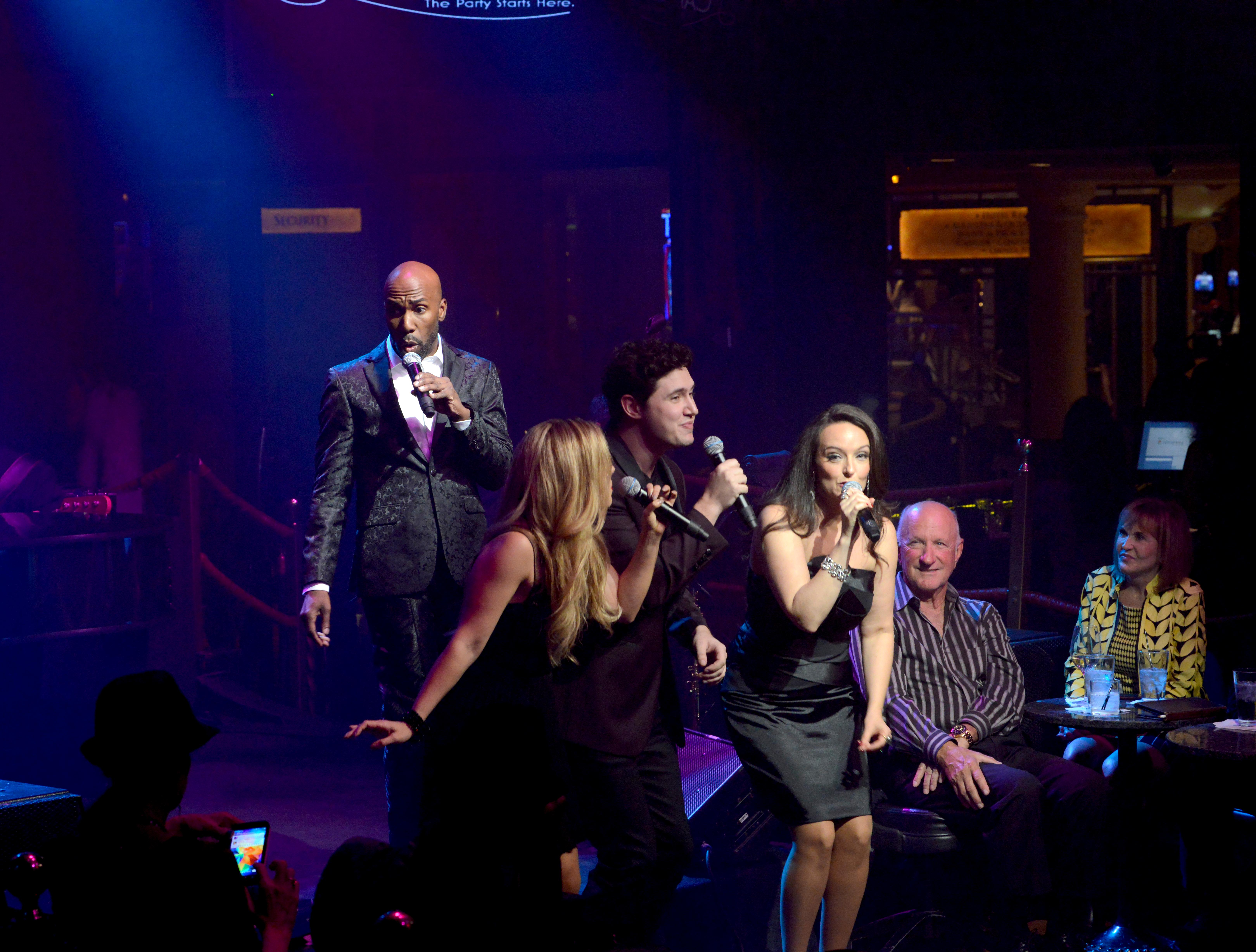"The cast performs vintage Vegas cabaret-style during the opening night of the musical review ""The Cocktail Cabaret"" at Cleopatra's Barge in Caesars Palace Hotel & Casino. The cast (l-r): Eric Jordan Young, Daniel Emmet, Maren Wade, Daniel Emmet, and Niki Scalera. Thursday, November 30, 2017. CREDIT: Glenn Pinkerton/Las Vegas News Bureau"