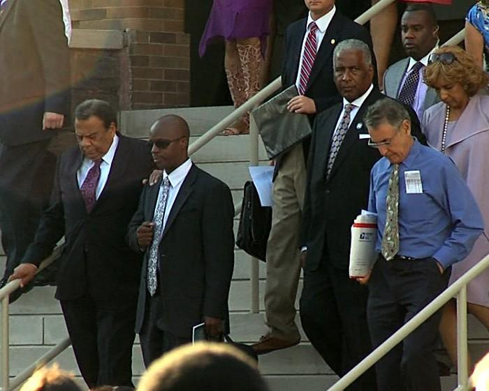 Mayor William Bell and Dr. Andrew Young leaving 16th Street Baptist Church following a 50th anniversary commemoration of the 1963 bombing.