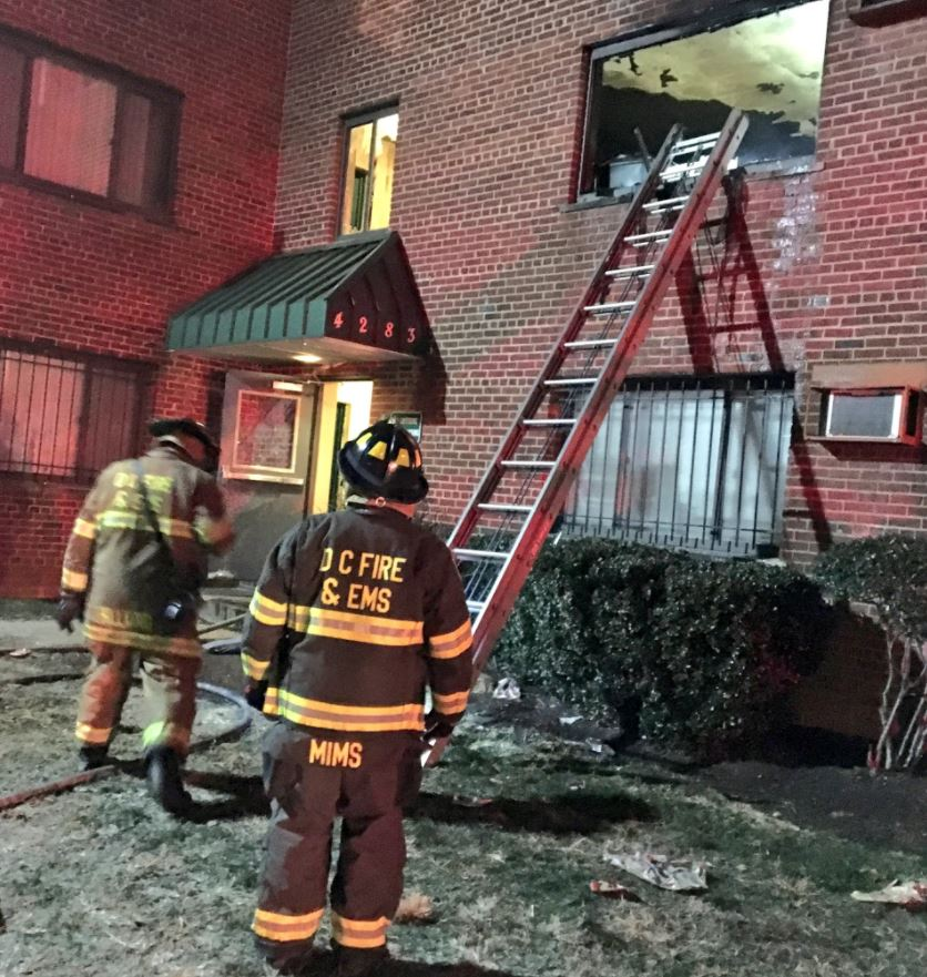 A D.C. apartment fire left 19 displaced and a man critically injured. (Photo, D.C. Fire Department)
