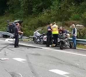 Two motorcycles taking part in the annual United Bikers of Maine Toy Run died Sunday after colliding with a pickup truck on Interstate 95 in Augusta.