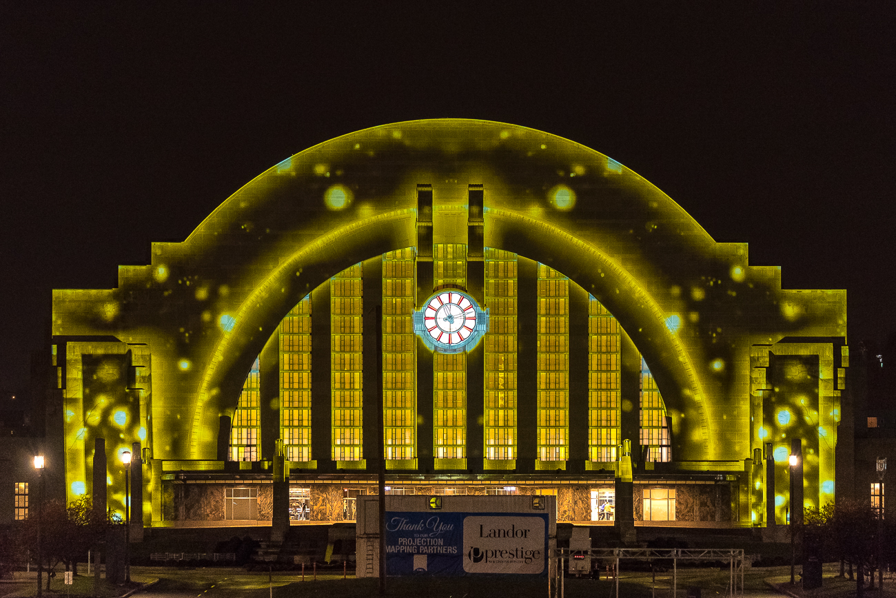 The nightly shows spanned every subject from trains to dinosaurs to simple, colorful outlines around the edges of the Terminal. Some designs made great use of the building's curvature, giving the Terminal a whole new feel despite it being over 80 years old. Visitors were able to park their cars along the approach to witness the show or park in the lot beside it. / Image: Phil Armstrong // Published: 11.29.18