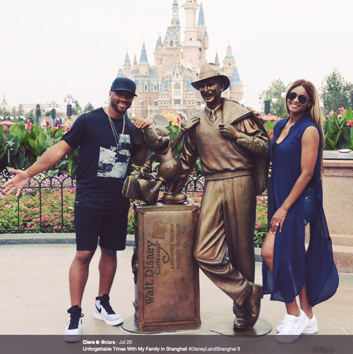 """Unforgettable Times With My Family In Shanghai! #DisneyLandShanghai !!""                      The entire Wilson family has been traveling around China on vacation before training camp starts back in Seattle next week! Ciara, Russell, Sienna and Future spent time at Disneyland Shanghai, the Great Wall, shopping in local markets, and doing multiple photoshoots (they are the Wilsons, after all)! Russell was there in part as a rep for Nike, and spent time at their Shanghai campus doing drills with local children (and Future Jr.!) and ""bringing football to China"".  (Image: @ciara / twitter.com/ciara)"