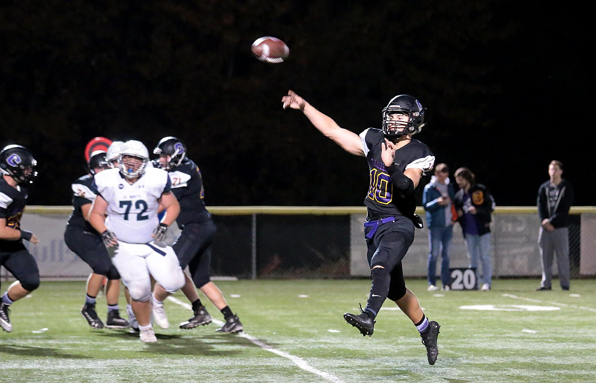 Cascade Christian junior Quarterback Kiegan Schaan passing the ball against St. Mary's at US Cellular Community Fields on Friday.  (PHOTO BY:  LARRY STAUTH JR)