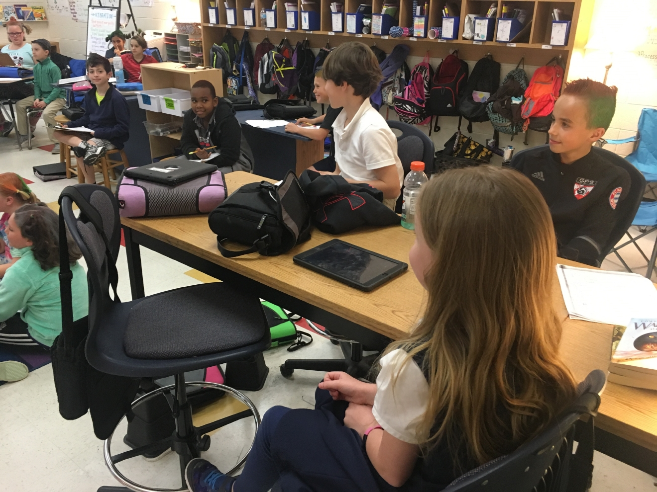 Matejewski started flexible seating at the start of the school year, and said she has already seen a huge decrease in behavioral issues and an increase in focus. (Credit: Josie Gregory)